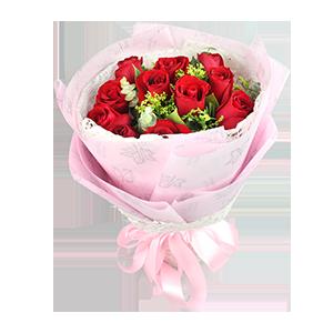 鲜花/浪漫心情:11枝红玫瑰 包 装:浅粉色牛油纸,搭配奶白色梦幻