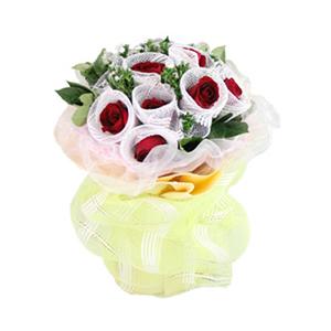 鲜花/爱你,天长地久:11枝红玫瑰独立包装 包 装:梦幻粉色网纱、黄色瓦