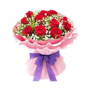 鲜花/宝贝,生日快乐: 11枝精品红玫瑰  [包 装]:粉色卷边纸多