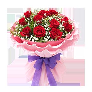 鲜花/宝贝,生日快乐:11枝精品红玫瑰 配材:满天星,黄莺丰满 花 语: