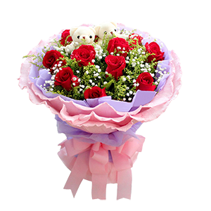 鲜花/老婆,我爱你:11枝红玫瑰,2只可爱熊仔 配材:满天星,黄莺 花