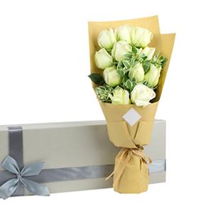 鲜花/真爱如初: 11枝白玫瑰  [包 装]:复古束扎,高档礼
