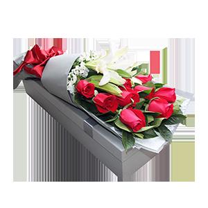 鲜花/白首不相离:百合玫瑰混搭,11枝精品红玫瑰,一枝多头香水百合