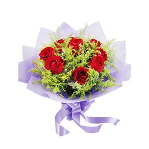 鲜花/生日礼物:9支红玫瑰 包 装:紫色棉纸圆形精美包装