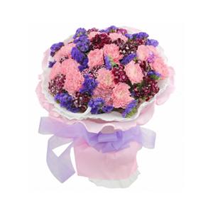 鲜花/轻声问候:20支粉康 包 装:白色,粉色卷边纸圆形精美包装,