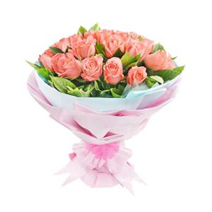 鲜花/懂你:33枝粉玫瑰 配材:绿叶丰满 花 语:我最懂你,倾