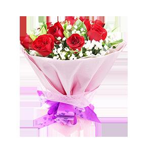 鲜花/那时花开:9枝红玫瑰 配材:绿叶、满天星丰满 花 语:那年花