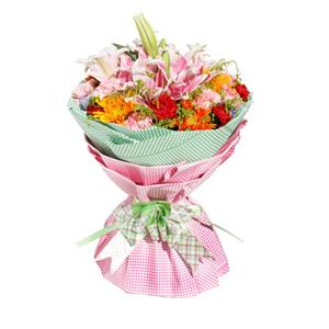 鲜花/温情时刻:5枝粉色多头香水百合,10枝粉色康乃馨,8枝红色康乃