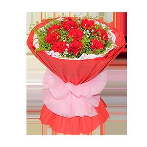 鲜花/难忘母爱:12枝红色康乃馨 包 装:粉色卷边纸内衬,红色瓦楞