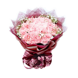 鲜花/眷恋妈妈:33枝粉色康乃馨 包 装:深红色棉纸内衬,同色皱纹