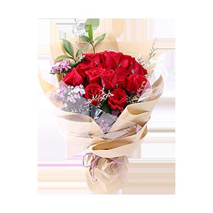 鲜花/宠爱:16枝新鲜精品红玫瑰,搭配相思梅、绿叶 祝 愿:做