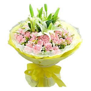鲜花/温馨时刻:16支粉色康乃馨,2枝百合点缀 花 语:喜欢与你交