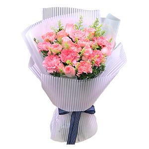 鲜花/简单的爱:9支粉色康乃馨,9支粉色玫瑰,黄莺满、天星辅材 花