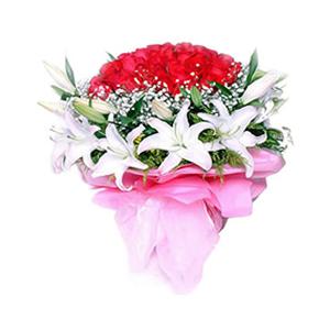鲜花/真的爱你:红玫瑰66枝,10枝白色香水百合(多头) 包 装: