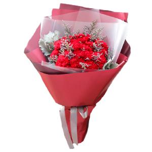 鲜花/幸福报道:19枝红色康乃馨,情人草辅材 花 语:谢谢您给我温