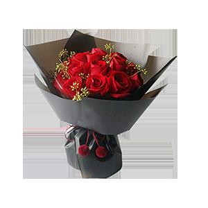 鲜花/绝代佳人:16支精品红玫瑰 花 语:北方有佳人