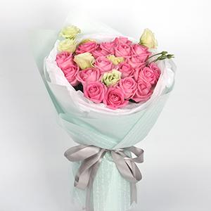 鲜花/回眸一笑:19枝苏醒玫瑰、3枝桔梗 花 语:像春天一样活力四