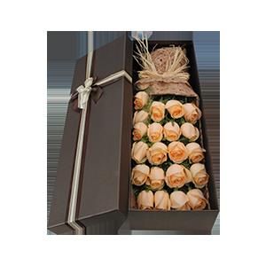 鲜花/爱你永恒不变: 19枝香槟色玫瑰  [包 装]:拉菲草复古束