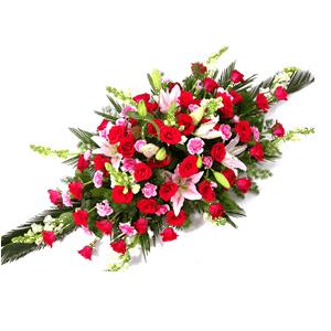 商业用花/好运来:红玫瑰 粉百合 高级配草 花 语:好运来
