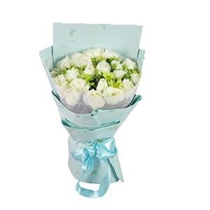 鲜花/细水流年:21枝白玫瑰。 配材:小雏菊间插 花 语:细水流年