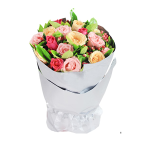 鲜花/陪伴你:7支戴安娜玫瑰、7支香槟玫瑰、7支桃红色玫瑰 配材: