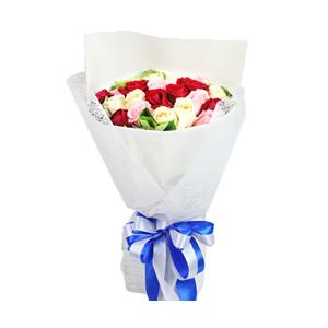 鲜花/秋日童话:7支红玫瑰、7支戴安娜玫瑰、7支香槟玫瑰间插,绿叶围