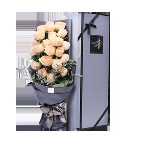 鲜花/最爱特别的你:21枝香槟玫瑰 花 语:在我心里眼里,都是独一无二