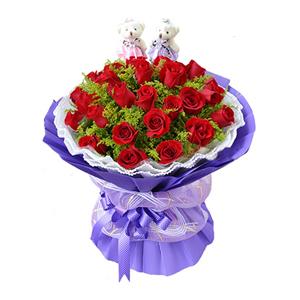 鲜花/全心全意: 27枝红玫瑰  [包 装]:内衬白色双层瓦楞