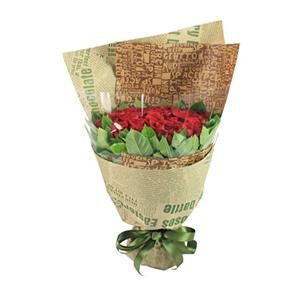 鲜花/旧日时光:33支红玫瑰 包 装:外层高档英文报纸、内层透明玻