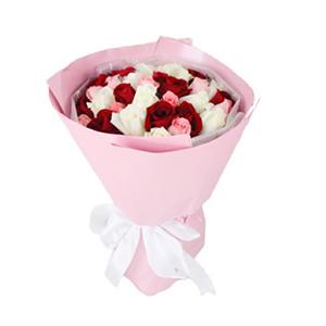 鲜花/想念你:11支戴安娜粉玫瑰、11支白玫瑰、11支红玫瑰 花