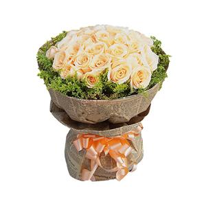 鲜花/牵手: 33朵香槟玫瑰  [包 装]:英文印花皱纹纸