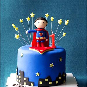 蛋糕/超人来了:鲜奶鸡蛋胚+彩色翻糖 祝 愿:你好,我的小超人