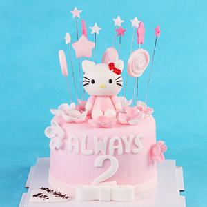 蛋糕/哈喽kitty:鲜奶鸡蛋胚,淡粉色翻糖 祝 愿:永远拥有一颗跳动的