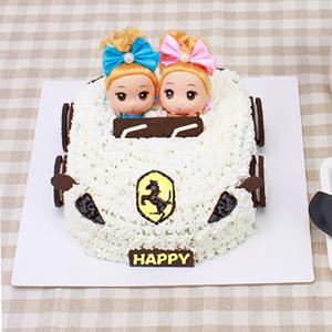 蛋糕/环游世界的梦想: 法拉利小汽车造型,芭比娃娃,新鲜奶油  [包