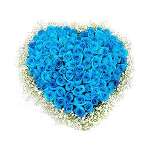 鲜花/你让我心醉:99只蓝色妖姬 包 装:心形花盘 备 注:蓝色妖