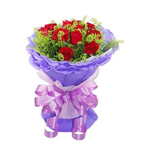 鲜花/一生的爱恋:11枝红玫瑰 包 装:淡紫色卷边纸圆形精美包装,同
