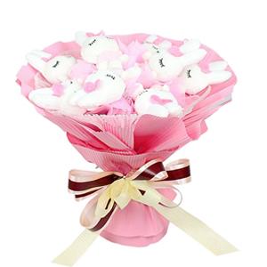 卡通花束/浪漫邂逅(卡通花束): 9只粉色美人兔,毛绒玩具为PP棉填充(总部统一
