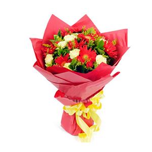 鲜花/遥寄相思:红色扶郎9枝、黄色康乃馨9枝 包 装:红色手揉纸圆