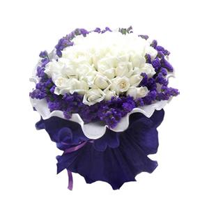 鲜花/相约永久: 29支白玫瑰,紫色勿忘我围绕  [包 装]: