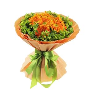 鲜花/生命之树:11枝橘色扶郎 包 装:浅橙色瓦楞纸多层包装,浅绿