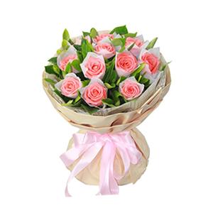 鲜花/依恋:11枝粉玫瑰单包。 包 装:高档香槟色包装纸圆形包