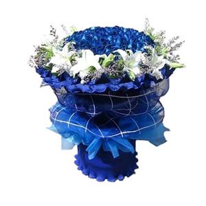 鲜花/蓝色至爱:蓝色妖姬66枝,百合11枝 包 装:蓝色卷边纸、蓝