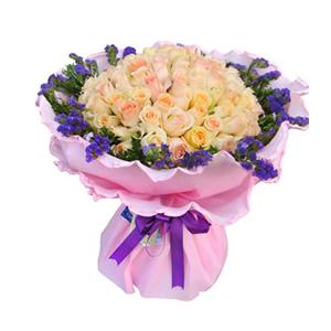 鲜花/悄然绽放:66枝香槟玫瑰 包 装:粉色卷边纸精美包装