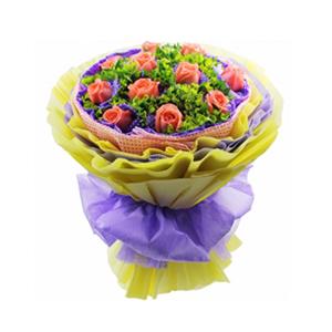 鲜花/因为爱情/豪华包装:11枝粉玫瑰单独包装 包 装:淡粉色麻网围边,紫色