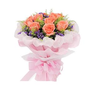 鲜花/浪漫爱情/11枝粉玫瑰:11枝粉玫瑰 包 装:粉色卷边纸双层包装,白色棉纸