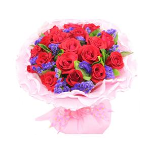 鲜花/你是我的幸福:21支红玫瑰 配材:紫色勿忘我、栀子叶间插 花 语