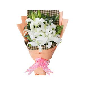 鲜花/无尽的爱:6支白色多头香水百合 花 语:无尽的爱