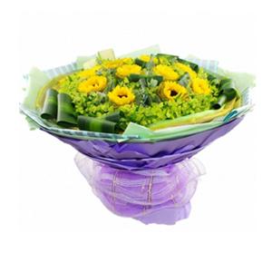 鲜花/漫天祝福 :10支向日葵,绿色、金色2层纱网独立包装。 包 装
