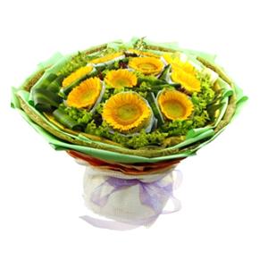 鲜花/灿烂时光:10枝向日葵,双层独立包装 包 装:绿色咖啡色色高