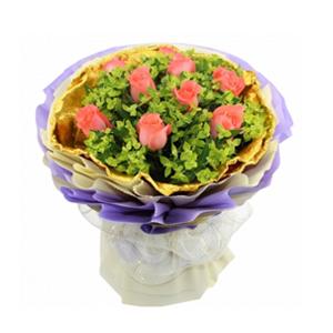 鲜花/爱的宣言: 9枝粉玫瑰  [包 装]:金黄色卷边纸内衬,